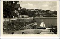 Saalburg Saale Thüringen DDR Postkarte 1954 Am Strandweg Segelboot Personen