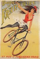 SOCIETE LA FRANCAISE GIRL BIKING BICYCLE CYCLE PARIS FRENCH VINTAGE POSTER REPRO