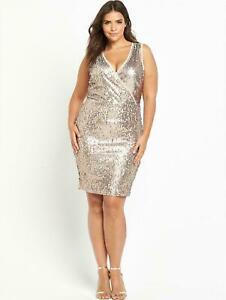 So Fabulous Gold Sequin Bodycon Wrap Dress UK 22 RRP £74 LN110 YY 01