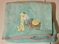 Cuddle Time Green Soft Fleece Baby Blanket Elephant Giraffe Gray Trim Cuddletime