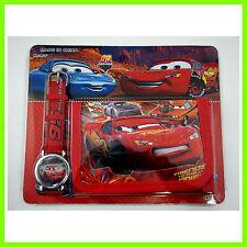 NEW Pixar Cars McQueen Kids Boys Wrist Watch and Red Purse Wallet SET