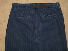 NYDJ Not Your Daughter's Jeans Size 8 Pinstripe Dark Blue Stretch Denim Trousers