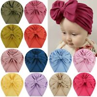 Toddler Kids Baby Boys Girls Solid Bow Knotted Hat Beanie Headwear Accessories