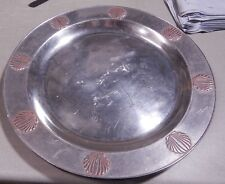Vintage Wilton Armetale  Large Round Platter Tray SHELL Design  Used