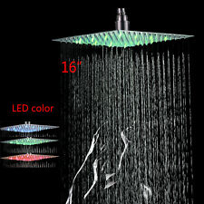 LED Colors 16 Inch Square Rain Shower Head Brushed Nickel Top Shower Sprayer Set
