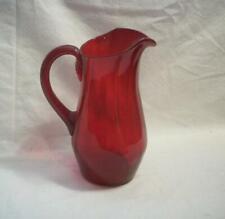 Vtg Glass Pitcher - Hand Blown Crimson Red Glass Water Pitcher