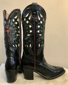 Vrg 70s 80s High Heel Butterfly Boots 6.5 7  Made In USA Quality!