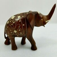 Vintage Elephant Wooden Hand Carved Wood With Inlay Has 1 Broken Tusk and Trunk