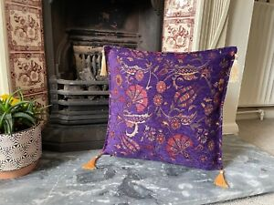 Purple Tulip Patterned Chenille Cushion Cover, Bohemian Throw Pillow, 40x40cm
