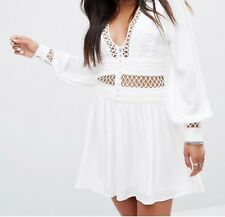 Free People White Boho Cut Work Embroidered Lace Folk Dress 10 To 12