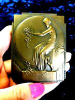 1933 Brussels Art Deco Splendid bronze plaque medal Nude Lady