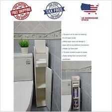 Narrow Bathroom Storage Cabinet Toilet Paper Holder Tissue Slim Stand Door Wood