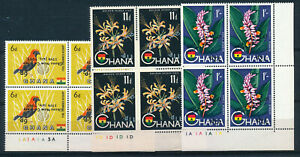 GHANA 1965 DEFS SG385a,386a,387da SURCHARGE INVERTED PLATE BLOCKS OF 4 MNH