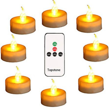 Topstone Led Tealight Candles with Remote and Timer,Warm Yellow Flameless ,Big