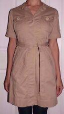 New Womens XS MICHAEL KORS Tan Khaki Button Waist Tie Short Sleeve Trench Coat