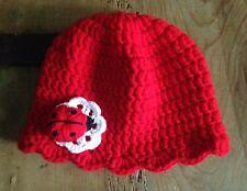 Gorro Bebe Rojo Artesanal 3 Meses Nuevo Flor Y Mariquita Crochet Punto 2b701cd68c9