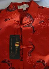 GOOD ORIENT MENS ORIENTAL SHIRT SIZE LARGE TRADITIONAL RED SILK
