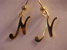 """Gold Letter N Earrings Initial N Script N Pierced Earrings Dangle Earrings 1"""""""