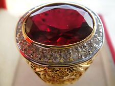size 16 Deluxe ICE RED RUBY MEN Gold Plated 24K RING Gemstone CZ Solitaire