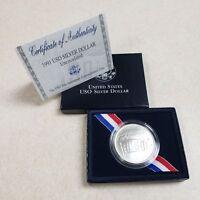 (1) 1991 D United States USO $1 Commemorative MS/UNC Silver Dollar Coin w/COA&Bx
