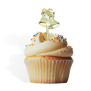12 Gold Bells Cupcake Cake Picks Weddings Anniversary Topper Party Decoration