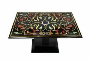"""48"""" x 24"""" Marble Table Top Inlay PietraDura Art handmade work with Marble Stand"""