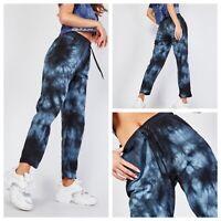 L C WAIKIKI Ladies Blue Trousers Size EU 46 / 18 Tie Die Effect Elasticated NEW