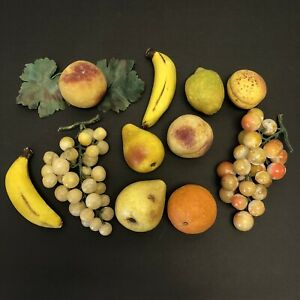 Italian 11 PC lot Alabaster Stone Fruit Grapes Pears Banana Lemon Orange Peach