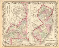 1874 ANTIQUE MAP - USA - MARYLAND, DELAWARE, NEW JERSEY IN COUNTIES