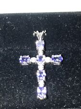 """New Natural Tanzanite AAAA+ & Diamond 9ct White Gold Cross &18"""" Necklace Boxed"""