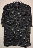 Casual Life Mens Hawaiian Black White Trees Short Sleeve Button Front Shirt XL