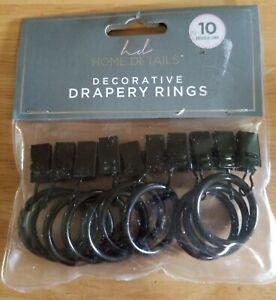 Drapery Curtain Rings Decorative Drapery Rings, 10 Pack Bronze, Kennedy NEW