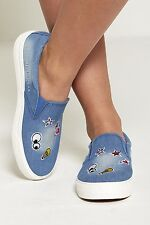 New Womens Ladies Emoji Embroidered Patchwork Denim Pumps Trainers Shoes UK 3-8