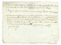 1679 or 1619 manuscript letter document  with post medieval signature red ink