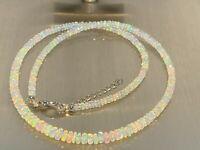 Kette Collier Äthiopischer weißer facettierter Opal HIGH FIRE GRADE 45+5 cm