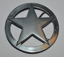 Nice Large Circular Star Silver Tone See Through Rocker Metal Belt Buckle