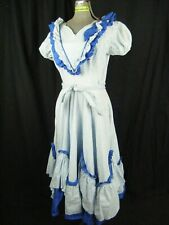 DONNEL STIMPFLING Vtg 50s Blue Floral Print Square Dance Full Dress-Bust 40/M