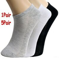 5 Pairs Summer Men Ankle Socks Low Cut Crew Casual Sport Cotton Blend Sock Solid