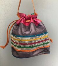 Vintage Color Block Handbag Bucket Drawstring Bag Leather Purse Studs Samir
