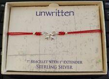 Unwritten Sterling Silver Bow Bracelet Red Rope Friendship
