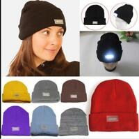 5-LED Light Cap Knit Beanie Hat with Batteries Hunting Camping Fishing Outdoor