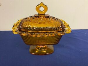 Antique Amber Candy Dish A3 -129