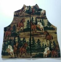PFI Zip Up Soft Fleece Horse Theme Vest W/ Pockets Womens 3X Plus Size