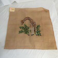 VTG Wicker Imports Needlepoint Tapestry Giraffe