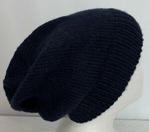Unisex adult hand-knit imp wool alpaca and silk slouch-beanies sew-ezy-australia