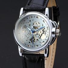New Mechanical Leather Women Automatic Wrist Watch Luxury Womens Silver Skeleton