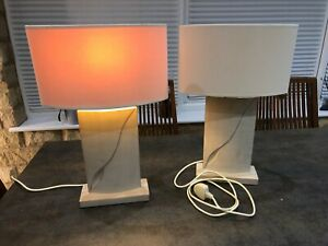 bedside lamps pair used, cream with matching shades