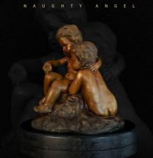Art Deco Sculpture Two Naughty Boys Angel Bronze Statue