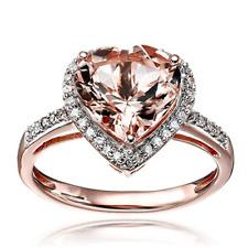 Natural Heart Pink Morganite Diamond Engagement Love Ring Solid 14K Rose Gold