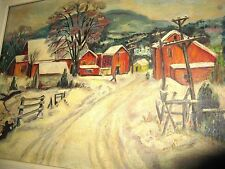 Vintage New Jersey WPA Original Oil Masonite Winter Farm Scene  Gallery Sticker
